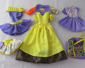 Barbie Purple Yellow Mixed Clothing Lot Doll Clothing Lot Vintage