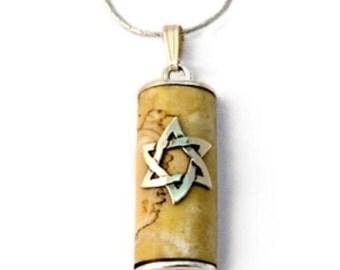 Sterling Silver Natural Jerusalem Stone Judaica Mezuzah Mens Necklace Star Of David Pendant