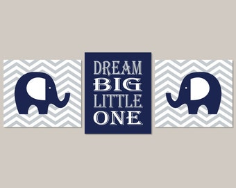 Baby Boy Nursery Decor ELEPHANT WALL ART Dream Big Boy Wall Art Set of 3 Prints Or Canvas Navy Gray Grey Nursery Art Chevron Nursery Decor