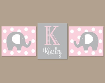 Baby Girl Nursery Art Pink Gray Nursery Art Elephant Nursery Wall Art Elephant Nursery Decor Girl Nursery Decor Set of 3 Prints Or Canvas