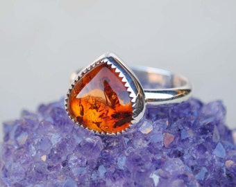 Amber Ring - Amber Ring Sterling Silver - Amber Jewelry