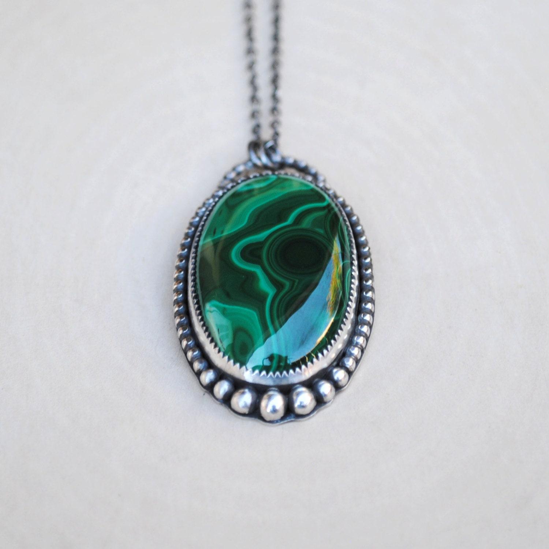 malachite necklace malachite pendant malachite jewelry