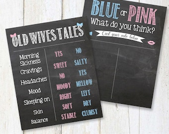 Both Cast your vote and old wives tales sign - Chalkboard Gender Reveal Party Signs - blue or pink - 8x10 and 16x20 DIGITAL file!