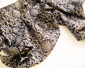Silk Scarf Square Black and Silver Large Indian 36 inches