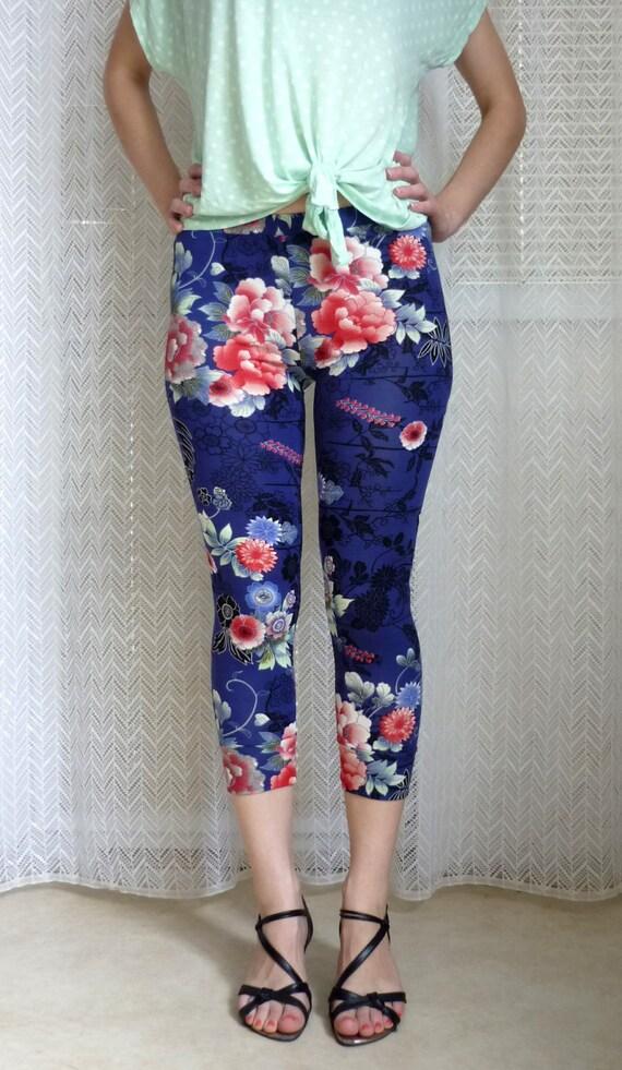 Panda Superstore Autumn Winter Cotton Girls Floral Leggings Navy BLUE, Height cm/