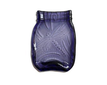 Melted Mason Jar in Royal Purple with Elegant Kiln-Carved Dragon Fly Swirl Design - Spoon Rest - Butter Dish - Soap Dish