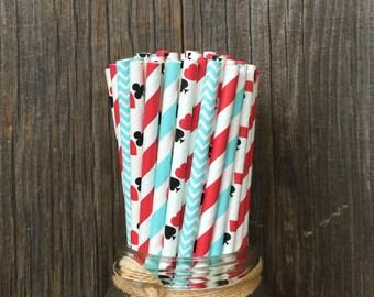 Alice Paper Straws, 100 Chevron Straws, Birthday Straws, Red Stripe Straws, Free Shipping
