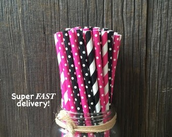 100 Hot Pink, Black and White Stripe and Polka Dot Paper Straws, Diva Paper Goods, Birthday Party Supply, Baking Supply