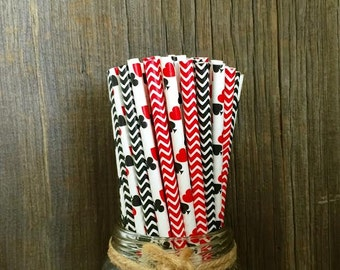 100 Card themed, red and black chevron paper straws - Casino Night, Card Party, Bridge Party, Birthday Party Supply, Free Shipping!