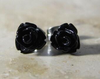 Mini rose flower earrings black resin stainless steel