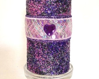 Purple Candle With Heart/  Purple and Pink Glittered Candle/ Glittered Room Decor/ Gift For Girl/ Pillar Candle With Heart/ Gift For Couple