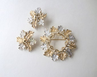 Silver Gold Leaf Earrings Brooch Set Sarah Coventry 1968 Garland Mixed Metal Leaf Earrings Multi Leaf Brooch Vintage Matching Jewelry