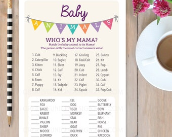 Baby Shower Game - Baby Animals Game - Baby Shower Game - Who's My Mama? - Print at Home - A4 and US sizes - A4 Shower Game