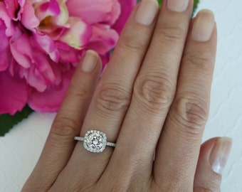1.25 ctw Square Halo Engagement Ring, Man Made Diamond Simulant, Half Eternity Bridal Ring, Promise Ring, Anniversary Ring, Sterling Silver