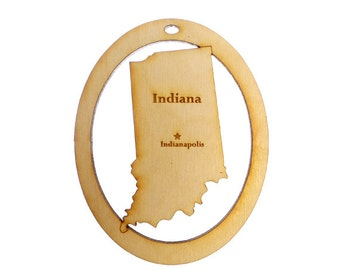 Indiana Ornament - State of Indiana Ornament - Indiana Gift - Indiana Ornaments - Indiana Decoration - Indiana Souvenir - Personalized Free