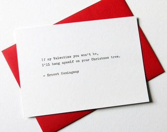 Hemingway Typewriter Valentine Card Love