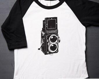 Vintage Camera - Twin Lens - T Shirt - Raglan - Toddler Shirt