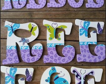NoJo Beautiful Butterfly - Hand Painted Letters - Beautiful Butterfly - Name Letters - Wood Letters - Painted Letters - Custom Name Letters