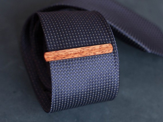 Tiama Wood Tie Clip. Slim 7.5 mm ties clip. Groomsmen Tie Clips. Monogrammed Tie Bar. Exotic Wood Tie Clip. Engraved Custom Tie Clip.