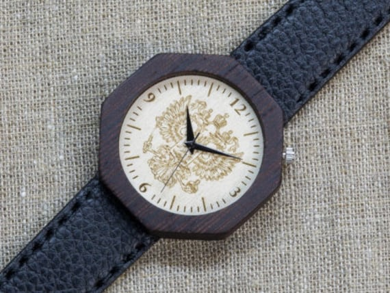 """Black Wenge """"The Emperor"""" minimal wood watch , Majestic Watch,  Black Genuine Leather strap + Any Engraving / Gift Box. Anniversary  gift"""