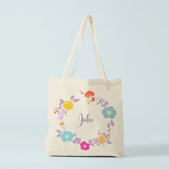 Tote Bag with name, Flowers Wreath, canvas bag, beach bag, groceries bag, novelty gift, gift for coworker, gift for women, cotton bag.