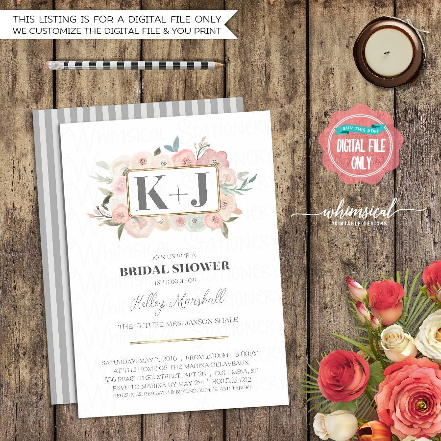 Bridal Shower Invitation Delicate Florals (Printable File Only ...