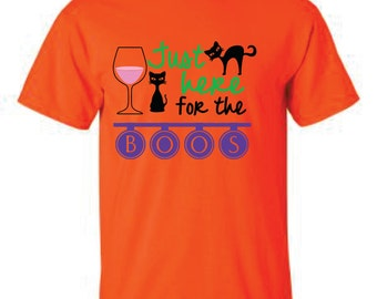 I'm just here for the boos, black cat shirt, halloween shirt, wine drinker shirt, wine shirt, halloween tee