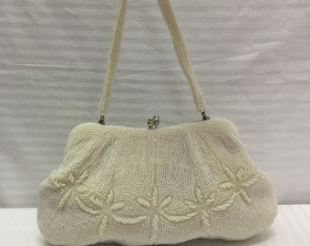 White Beaded bag,Purse, Japan,vintage Handbag