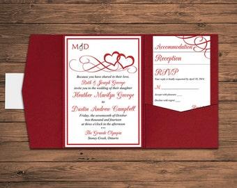 "Heart Wedding Pocketfold Invitation Suite Deposit - Red Heart Wedding Invitation - Valentine Red ""Entwined Hearts""  Red Invitation Set"