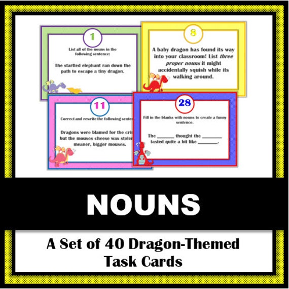 Noun Task Cards: Set of 40 Dragon-Themed Task by NerdintheBrain