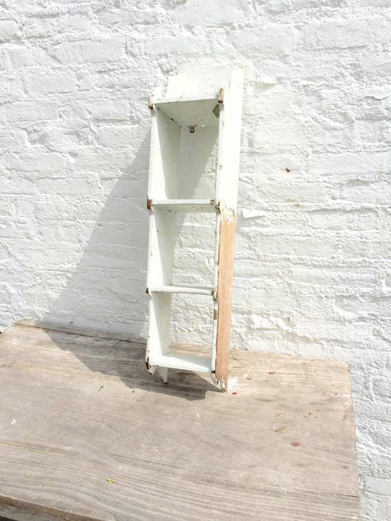 Vintage shelf wood shelf knick knack cubby farmhouse for Bathroom knick knacks