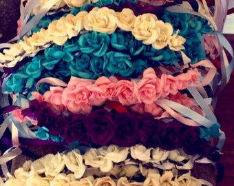Made to order flower crown headbands in a variety of colors! Weddings, parties, bachelorettes, wholesale and fashion crowns!