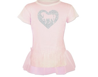 Sparkle Horse Heart Tutu Tunic for Girls - Pink