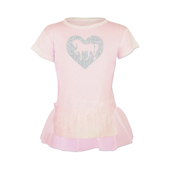 Horse Tutu Tunic for Girls and Toddlers w/ Glitter Sparkle Heart, Pink Pony Short Sleeve Shirt, Equestrian Clothing, Horse Clothes