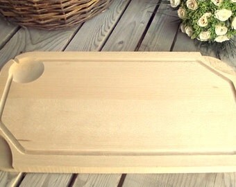 Wood Cutting Board - Vintage Wood Block - Le Creuset - Chopping Board - Grill Cutting Block - Meat Cutting Board - French Kitchen