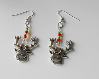 Reindeer Charm Earrings, Festive Coloured Beads, Christmas Gift for Women, Secret Santa Idea, Gifts for Her, Quirky Jewellery, Festive Studs