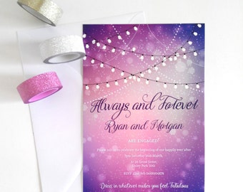 Engagement Invitation Card. Fairy Lights. Purple Invitation. Twinkle Lights. Outdoor Party.