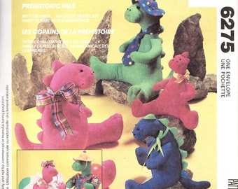 McCall's 6275 Dinosaur Doll and Clothes Stuffed Animal Sewing Pattern