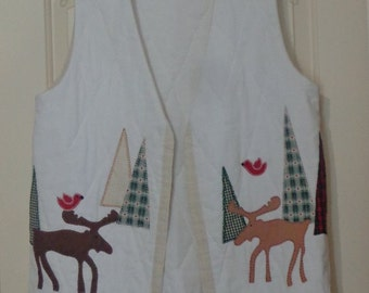 Handmade Quilted Christmas Vest, Ugly Tacky Christmas Vest, Vintage Christmas Moose Vest Size L