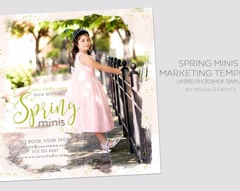 INSTANT DOWNLOAD, Spring Mini Session Photography Template, Marketing Template, Children, Watercolor, Simple, Elegant,  Postcard