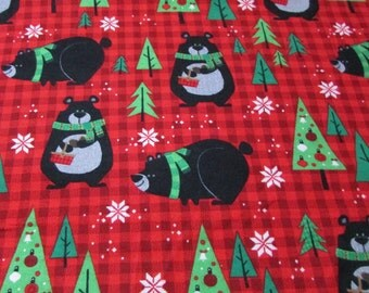Christmas Flannel Fabric - Northwoods Bears on Plaid - 1 yard - 100% Cotton Flannel