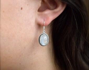 Braided Rainbow Moonstone Dangle Earrings