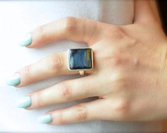 Navy Sheen Pietersite Ring // Pietersite Jewelry // Sterling Silver // Village Silversmith