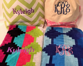 Monogrammed Beach Bag and Towel Set