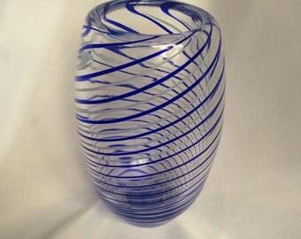 Cobalt Blue and Celadon Glass Bud Vase / Pen Holder.  Hand Blown Glass Bud Vase.  Spiral Bud Vase.