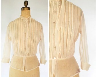 RESERVED ---- 1950's Sheer Blouse - Pale Pink Pleated Blouse - Size L
