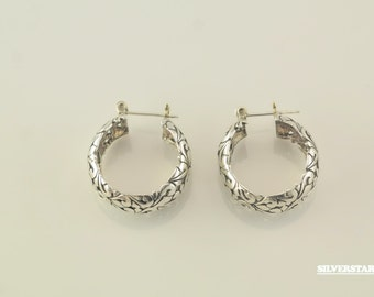 "1"" Sterling Silver Heart Hoop Earrings"