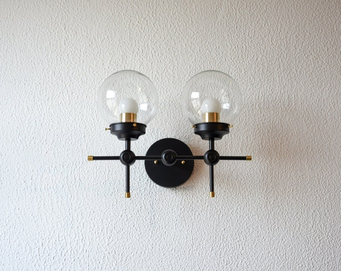 Free Shipping! Wall Sconce Black and Gold Brass 2 Globe Modern Abstract Mid Century Industrial Art Vanity Light Bathroom UL Listed