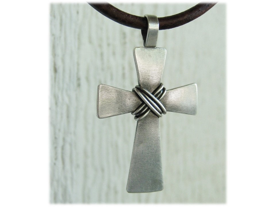 mens cross necklace sterling silver cross forged silver. Black Bedroom Furniture Sets. Home Design Ideas