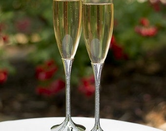 Crystal Wedding Champagne Flutes, Personalized Rhinestone Champagne Flutes, Wedding Toasting Flutes, Custom, Engraved Champagne Glasses